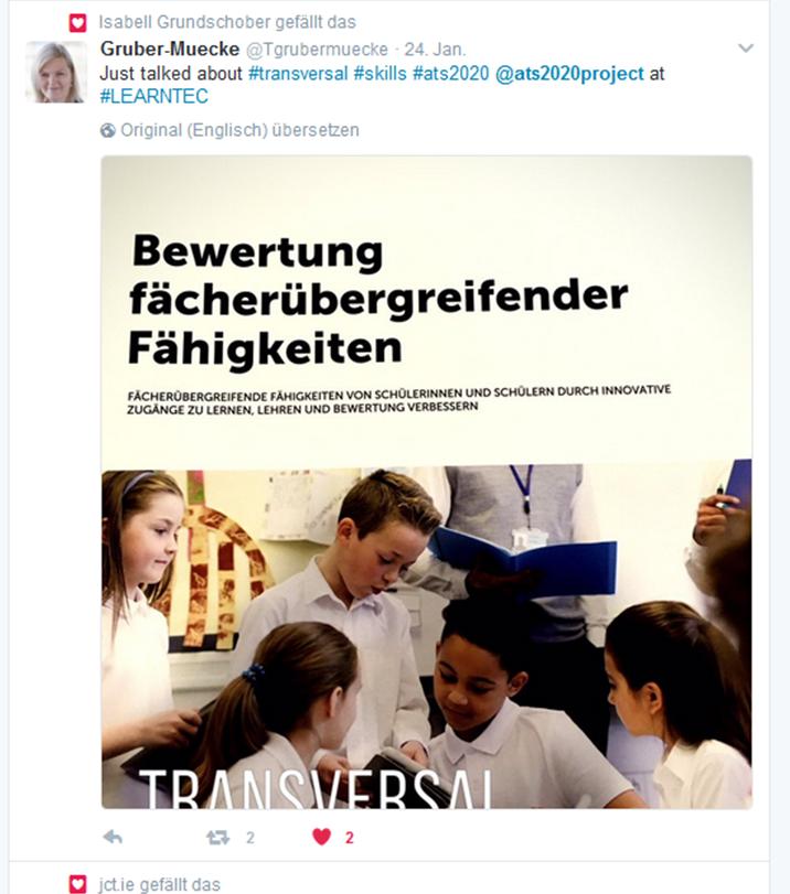 24.01.2017. Dr. Tina Gruber-Mücke, stellvertretende Departmentsleiterin des IMB, besuchte die Learntec in Karlsruhe. Im Gepäck: ATS2020-Folder.