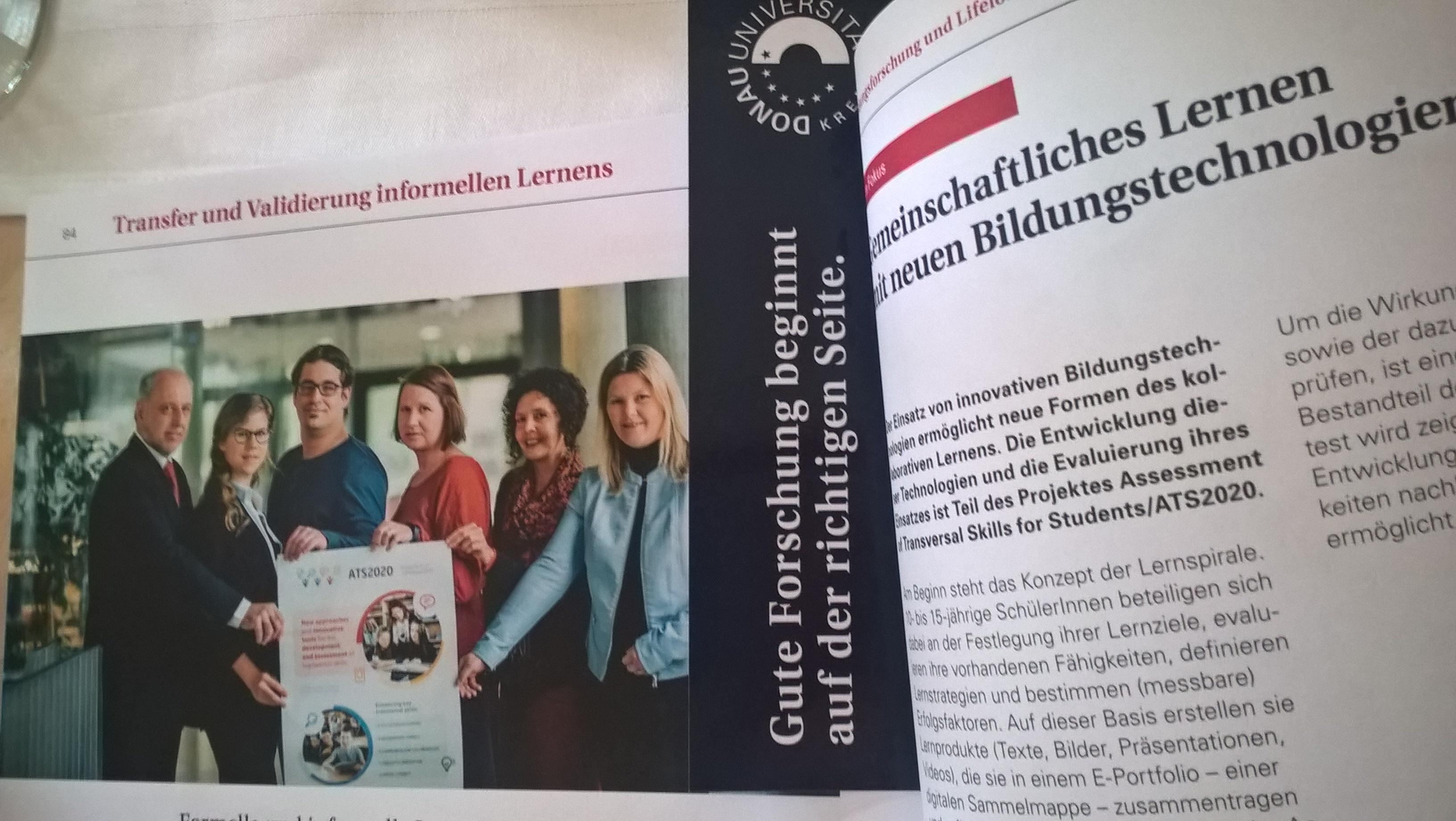 ATS2020 im Forschungsbericht der Donau Uni Krems 2016/2017 - mit einem tollen Foto des Teams und unseres ATS2020 Plakats! :)